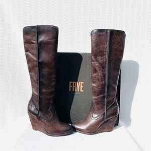Frye Distressed Tall Wedge Brown Boots New 7.5